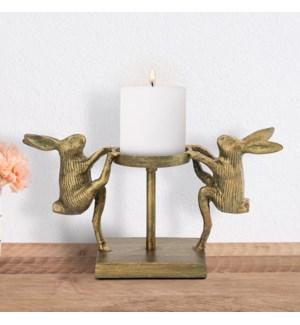 Dancing Rabbits Pillar Candleholder