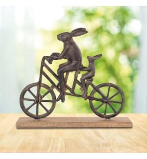 Rabbit and Child on Bicycle Desktop Decor