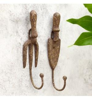 Garden Fork Single Hooks Set of 4