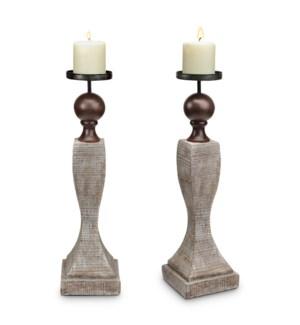 Whitewash Pillar Candleholder