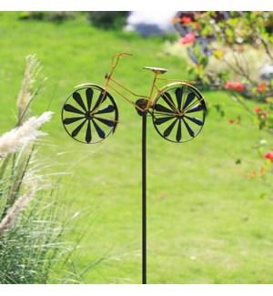 Yellow Bicycle Pinwheel Garden Stake