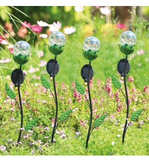 Leaf LED Light Garden Stakes Set of 4