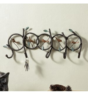 Five Birds on Branches Keyhook