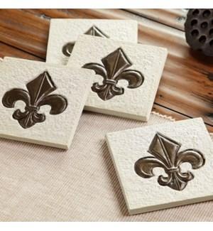 Fleur De Lis Coasters Set of 4