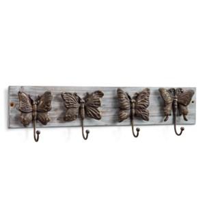 Butterflies on Wood Wall Hook