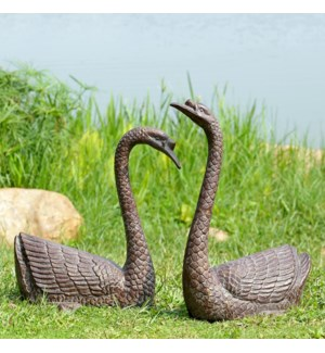 Serene Swans Garden Sculpture Set of 2