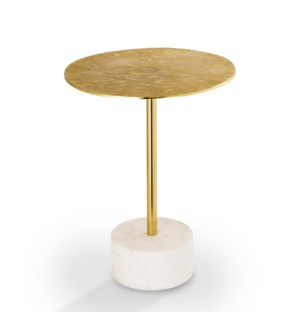 Golden Finish End Table with Marble Base