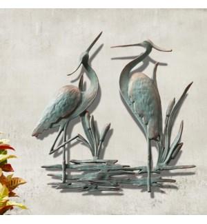 Douible Garden Heron Wall Plaque