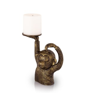 Monkey in Sweater Pillar Candleholder