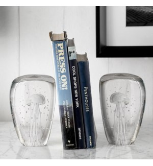 Art Glass Jellyfish Wedge Bookends