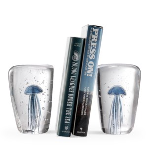 Art Glass Blue Jellyfish Wedge Bookends