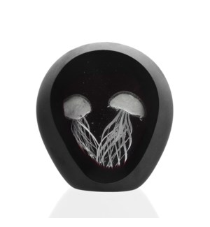 Art Glass Jellyfish Pair in Frosted Charcoal Window