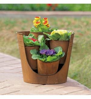 """Rustic Cutaway Planter for 4""""D Pot"""