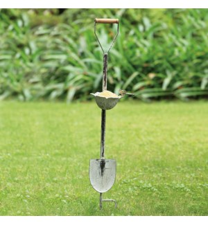 Dragonfly and Flower Cup Shove Birdfeeder on Stake