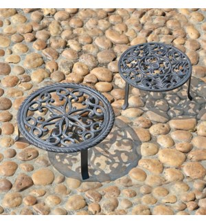 Antiqued Plant Stands Set of Two