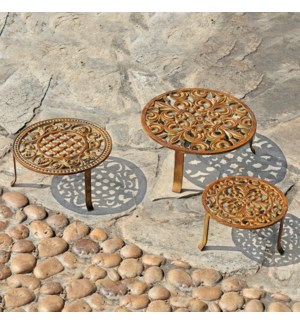 Antiqued Rust Plant Stands Set of 3