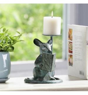 Reading Mouse Pillar Candleholder