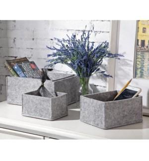 Crosshatch Gray Decor Storage Boxes