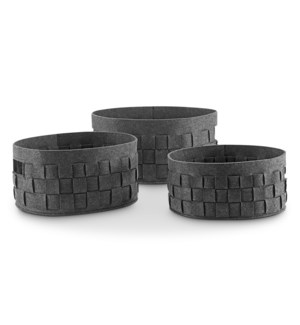 Crosshatch Round Gray Decor Storage Bins Set of 3