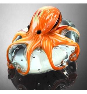 Art Glass Orange Octopus Paperweight