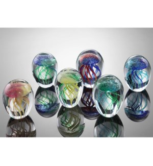 Art Glass Mini Jellyfish set Assorted Colors Glow in the Dark