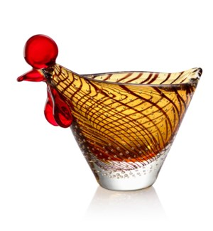 Art Glass Hen Bowl