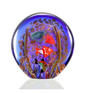 Art Glass Blue Sea Scene with Jellyfish