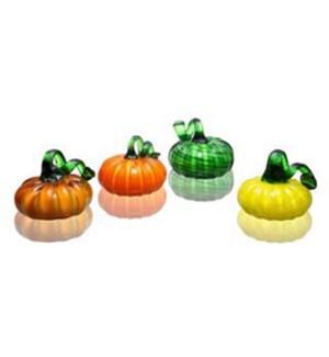 Art Glass Carnival Pumpkins Set of 4