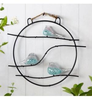 Art Glass Bird Trio Wall Hanging