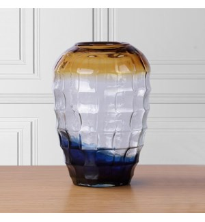 Large Blue and Gold Glass Vase