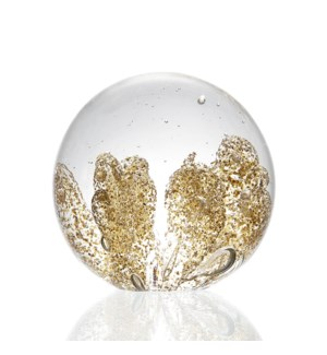 Gold Coral Glass Sphere - Paperweight