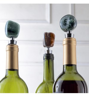 Tumbled Agate Wine Stoppers Set