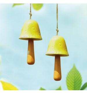 Ceramic Yellow Mushroom Windbell Set of 2