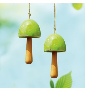 Ceramic Green Mushroom Windbell Set of 2