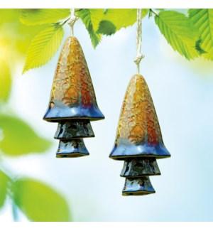 Ceramic Blue Banded Mushroom Windchime Set of 2