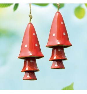 Ceramic Red Mushroom Windchimes Set of 2