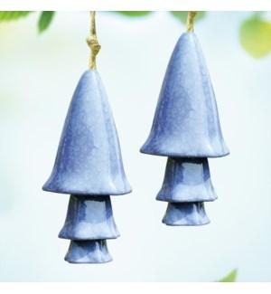 Ceramic Blue Mushroom Windchimes Set of 2