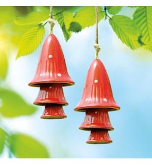 Ceramic Red Spotted Mushroom Windchimes Set of 2