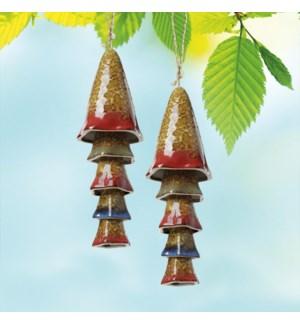 Ceramic Mushroom Multi Windchimes Orange Banded Top set of 2