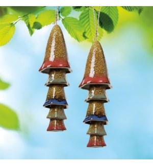 Ceramic Mushroom Multi Windchime Red Banded Top Set of 2