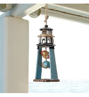 Blue Lighthouse Ceramic Wind Chime