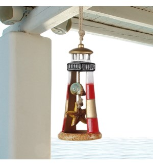 Red Lighthouse Ceramic Wind Chime