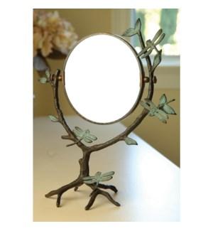 Dragonfly on Branch Mirror