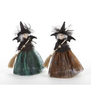 Bat Witch w/ Broom, 2 Asst