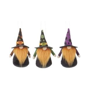 Bearded Warlock Ornament, 3 Asst