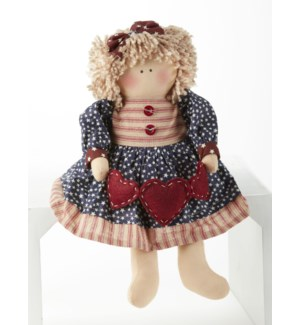 Americana Doll w/ Hearts, Blue
