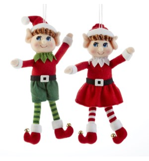 Bashful Eyes Elf Ornament,2 Asst