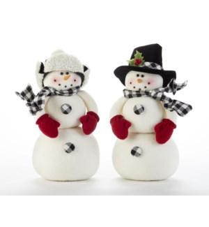 Black/White 2-Ball Snowman, 2 Asst