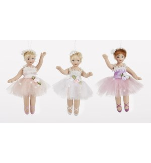 "3.5"" Porcelain Ballet Ornament, 3 Asst"
