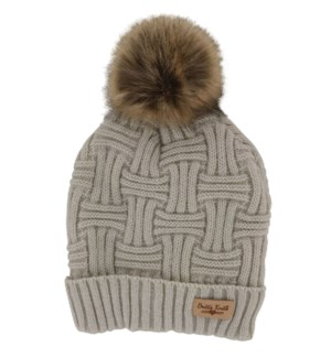 BEIGE HAT W/NATURAL POM 2PC